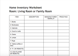 home inventory worksheets